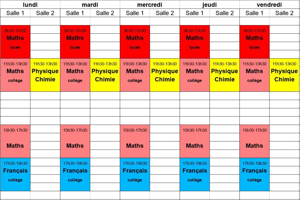 planning des stages de Toussaint 1ère semaine