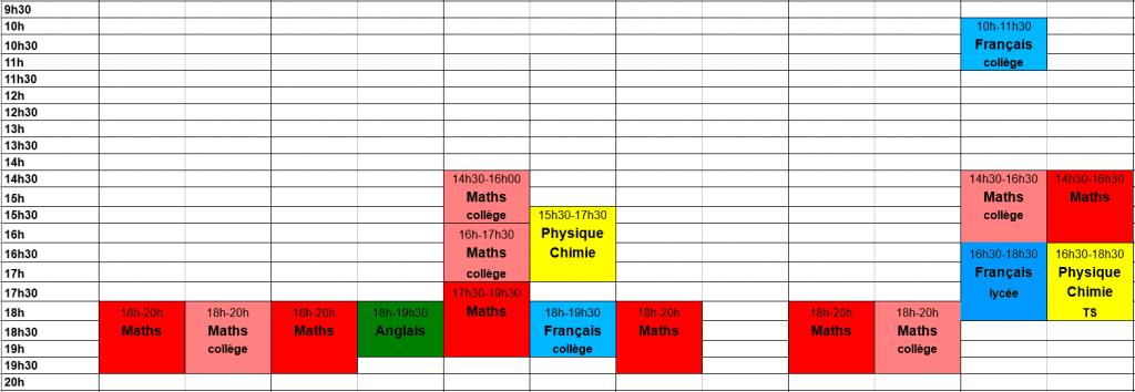 planning hebdomadaire des cours 2017-2018