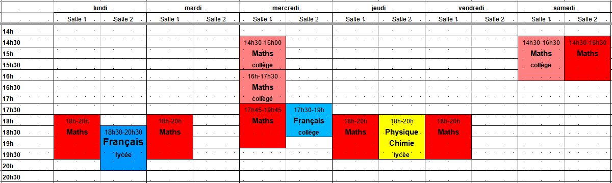 Planning des cours hebdomadaires